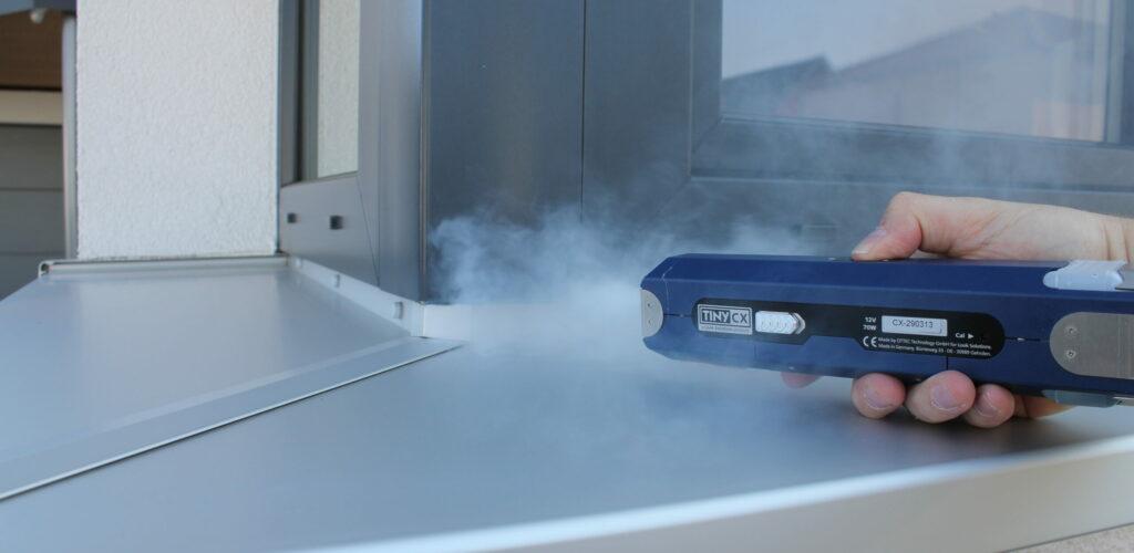 Luftdichtigkeitsmessung an einem Wohngebäude